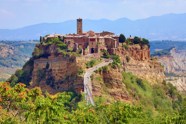 View of the hilltop village of Civita di Bagnoregio, Lazio, Italy