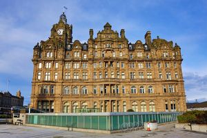 The Balmoral Hotel and clock tower in Edinburgh, Scotland, United Kingdom