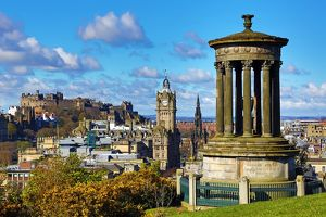 Edinburgh and the Dugald Stewart Monument from Calton Hill