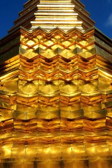 Gold Chedi at Wat Phan On Temple in Chiang Mai, Thailand