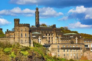 Nelson's Monument and the Governor's House on Calton Hill in Edinburgh, Scotland