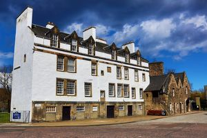 Old houses on Abbey Strand at the end of the Royal Mile in Edinburgh, Scotland, United