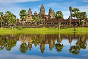Reflection of Angkor Wat Temple in lake in Siem Reap, Cambodia