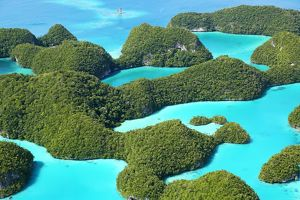 Aerial view of the Seventy Islands, Republic of Palau, Micronesia, Pacific Ocean