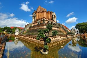 Wat Chedi Luang Temple Chedi in Chiang Mai, Thailand