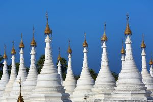 White dhamma ceti shrines at Sandamuni Pagoda, Mandalay, Myanmar (Burma)