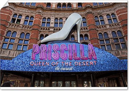 Giant shoe of the Priscilla, Queen of the Desert musical at the Palace Theatre, London, England