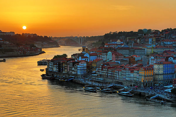 The City of Porto and the River Douro at sunset, Porto, Portugal