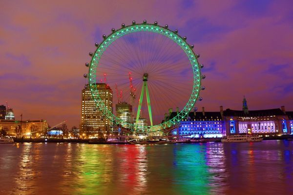 The London Eye goes green celebrating St. Patrick's Day in London, England