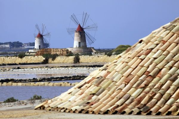 Windmills in the Marsala Salt Pans, Sicily, Italy