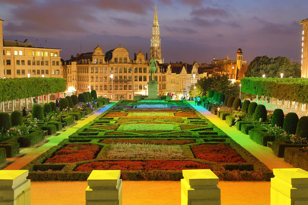 Mont des Arts Gardens and Tower of the Town Hall at night, Brussels, Belgium