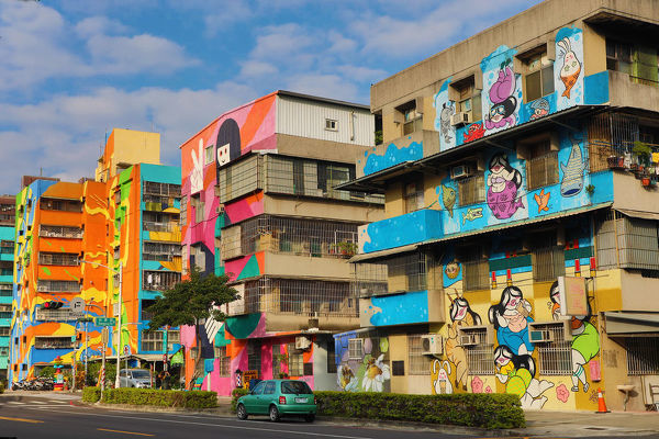 Murals on buildings in Weiwu Mimi Village, Kaohsiung City, Taiwan