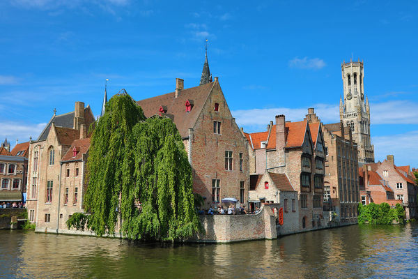 Quay of the Rosary or Rozenhoedkaai and the Belfry Tower, Bruges, Belgium