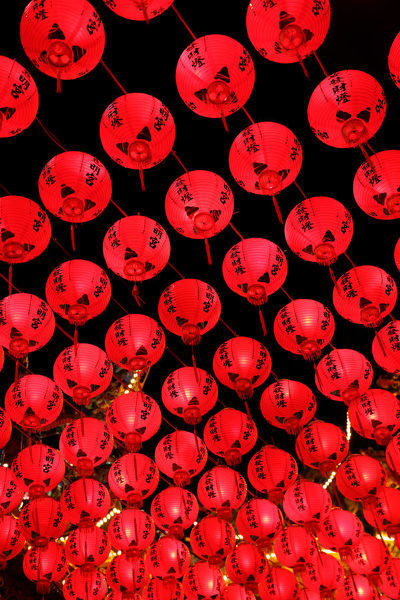 Red Chinese paper lantern decorations for Chinese New Year, Kaohsiung City, Taiwan