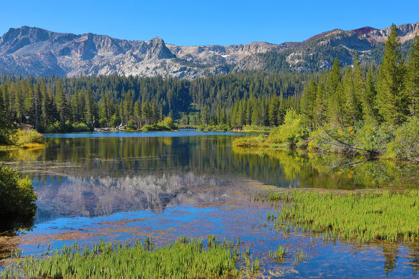 Reflection of mountains in Twin Lakes, Mammoth Lakes, California, United States of