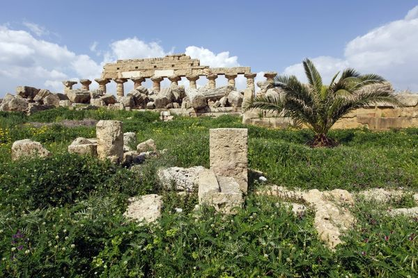 Ruins of Temple C, a Doric Hexastyle building, at Selinunte, Sicily, Italy