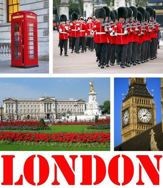 Souvenir photos of tourist attractions in London, England showing scenes of Buckingham Palace, Guards, Big Ben, Red Telephone Box