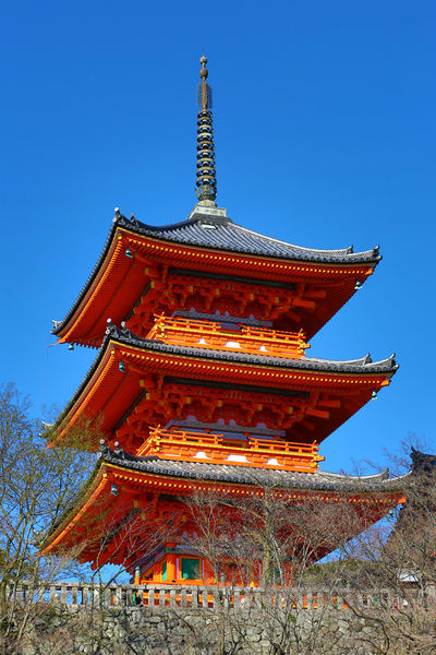 Three storey orange pagoda at Kiyomizu-dera Temple in Kyoto, Japan