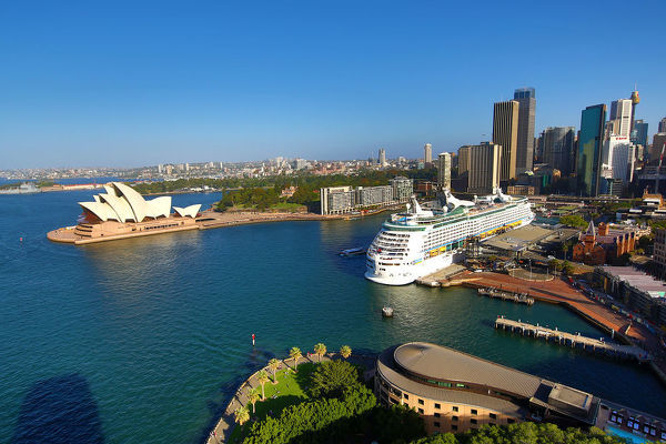Sydney Opera House and a cruise ship, Sydney, New South Wales, Australia