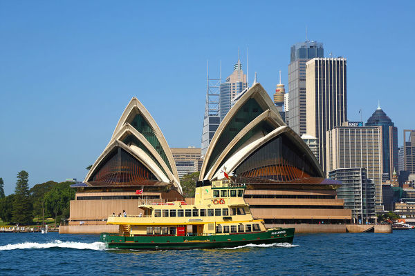 Sydney Opera House and a harbour ferry, Sydney, New South Wales, Australia