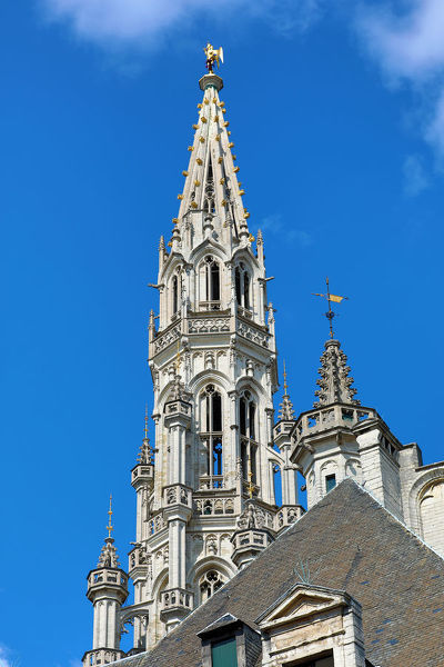 Tower and spire of the Town Hall in the Grand Place or Grote Markt, Brussels, Belgium