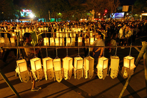 The Yee Peng, Loy Krathong Festival started with the lighting f candles and lanterns in Chiang Mai, Thailand