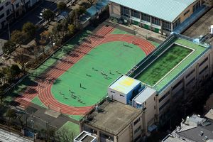Aerial view of an athletics sport stadium, Tokyo, Japan
