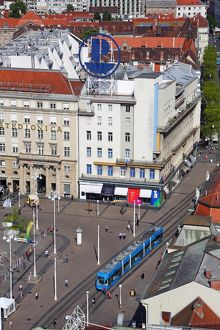 Aerial view of Ban Jelacic Square with a tram in Zagreb, Croatia