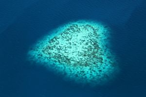 Aerial view of a heart shaped island, Republic of Palau, Micronesia, Pacific Ocean