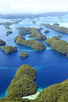 Aerial view of islands in the Archipelago of Palau, Republic of Palau, Micronesia