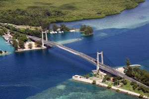 Aerial view of the Japan-Palau Friendship Bridge, Koror, Koror Island, Republic of Palau