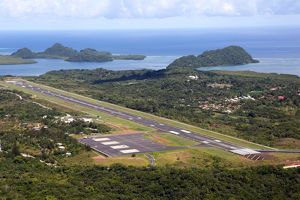 Aerial view of Koror Airport, Koror Island, Republic of Palau, Micronesia, Pacific Ocean