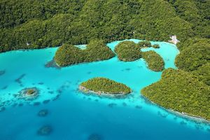 Aerial view of the Milky Way among the islands in the Archipelago of Palau, Republic