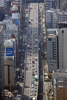 Aerial view of a road and traffic, Tokyo, Japan