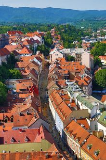 Aerial view of the rooftops of Radiceva Street in Zagreb, Croatia