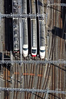 Aerial view of station with Japanese trains, Tokyo, Japan