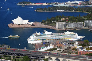 Aerial view of Sydney Opera House, and a cruise ship in the harbour, Sydney, New