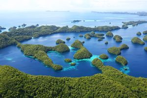 Aerial view of tropical Palau islands archipelago, Micronesia