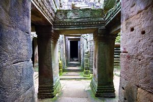 Arched walkways and pillars in the ruins of Bayon Temple, Angkor Thom , Siem Reap