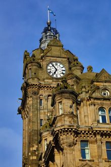 Balmoral Hotel clock tower in Edinburgh, Scotland, United Kingdom