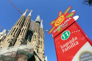 Barcelona City Tour bus stop sign for tourists at the Basilica de la Sagrada Familia