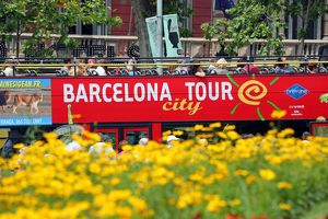 Barcelona city tour open top tourist bus in Barcelona, Spain