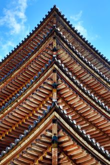 Beams of pagoda roof at Daigoji Buddhist Temple in Kyoto, Japan