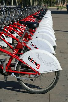 Bicing rental bicycles hire stand in Barcelona, Spain