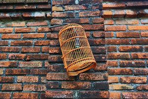 Empty birdcage hanging on a wall in Legian, Denpasar, Bali, Indonesia