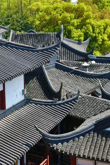 Black tiles roofs of traditional buildings in the Old City, Shanghai, China
