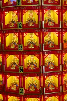 Boxes of religious figures at the Thean Hou Chinese Temple, Kuala Lumpur, Malaysia