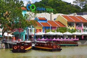 Brightly covered bars and restaurants of Clarke Quay, Singapore, Republic of Singapore