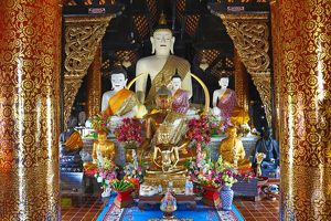 Buddha statues in Wat Inthakhin Sadue Muang Temple in Chiang Mai, Thailand
