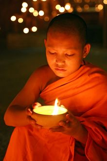 Buddhist Monks at Wat Phan Tao Temple during Loy Krathong in Chiang Mai, Thailand